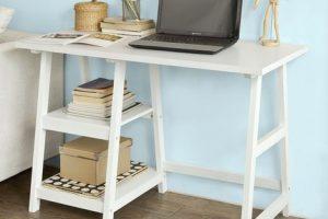 Escritorio pequeño de estantes con caballetes FWT16-W
